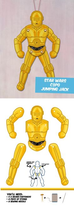 Create your own Star Wars C3PO Paper puppet!