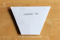 Noodle Craft: Origami Seed Packet - use this for flowerpots in the kaper chart