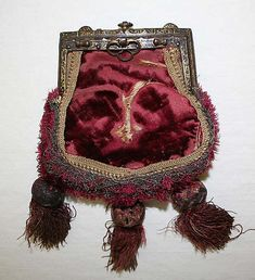 16th century purse, German, made of silk (velvet) and metal (embroidered, tassels), The Metropolitan Museum of Art