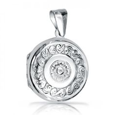 Sailors Embossed Fancy Flower .925 Sterling Valentine Round Locket
