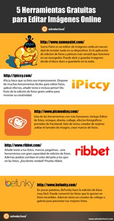 5 Herramientas gratuitas para editar Imágenes Online #infografia #infographic