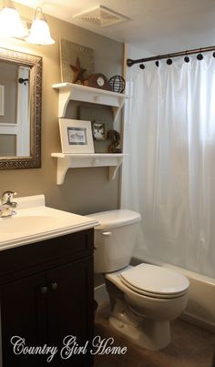 like the idea of a frosted clear shower curtain clean and easy. Small Country Bathrooms, Small Bathroom, Bathroom Ideas, Downstairs Bathroom, Bathroom Updates, Neutral Bathroom, Bathroom Colors, Bathroom Remodeling, Remodeling Ideas
