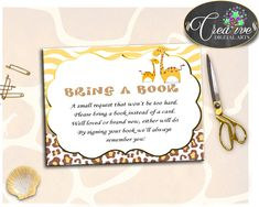 Giraffe Baby Shower Boy or Girl BRING A BOOK insert cards printable yellow and brown theme, digital files, jpg pdf, instant download - sa001 #babyshowergifts #babyshowerideas