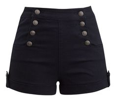 High Waist Sailor Girl Denim Shorts in Black with Anchor Buttons – Double Trouble Apparel Girls Denim Shorts, Black Denim Shorts, Black High Waisted Shorts, Short Outfits, Cool Outfits, Fashion Outfits, Gothic Fashion, Como Fazer Short, Emo Outfits