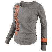 Nike Cleveland Browns Go Long Ladies Long Sleeve T-Shirt - Gray