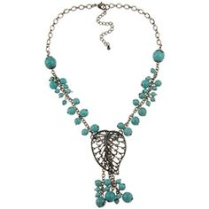 @Overstock - This Crystale necklace shines with a leaf pendant. This jewelry piece is made of sterling silver and turquoise. http://www.overstock.com/Jewelry-Watches/Crystale-Sterling-Silver-Turquiose-Leaf-Necklace/5973558/product.html?CID=214117 $13.69