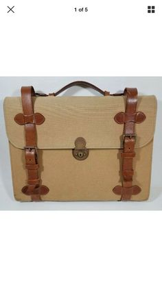 1fff49805165 Vintage Ralph Lauren Canvas   Brown Leather Briefcase Suitcase Attache Bag