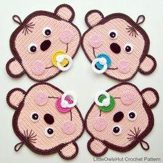 Crochet monkey potholder by Zabelina on craftsy. LittleOwlsHut on craftsy
