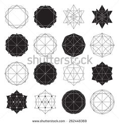 Freehand drawing geometry group. Simple isolated geometric black and white figure with handwork phrase