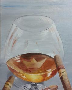 Habana – oil on canvas (50x40 cm) L'enfance dans un verre de cognac  For more artworks please visit my website http://cricar.com/ (Like, comment & share, thx)  #habana, #havana, #cigar, #cigare, #brandy, #cognac, #glass, #verre, #childhood, #enfance, #BateauDePapier, #PaperBoat, #painting, #OilOnCanvas, #CarmenCristea