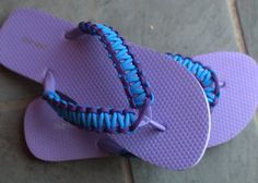 Paracord Flip Flops ... not a tutorial, but combine a cheap pair of flip flops with all those easy paracord bracelet tutorials and you'd have a really cute pair of flip flops :)  Trying today ...