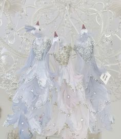 Set 3 Shabby Chic Silver Feather Peacocks Christmas Bird Decorations Ornaments