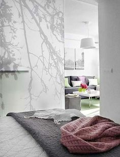 Frosted glass divider for bedroom