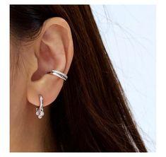 925 Sterling Silver Leaves Ear Clip Cuff Earrings Women punk Jewelry Gifts CE72