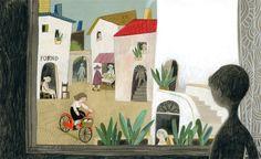 felicita sala illustration: grandpa's white hair, a book.