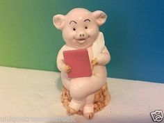 PIGGIES DANBURY MINT PIG FIGURINE PORCELAIN 25 MADE FEATHER PEN BOOK WRITER BOOK