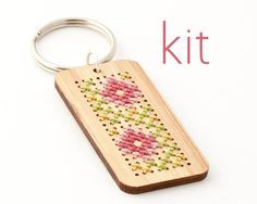 DIY Cross Stitch Key Fob Kit  Bamboo Rectangle by RedGateStitchery, $16.00