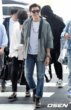 """Let's say there's no Namjoon in BTS and he was this average Korean guy. If you saw him on the street, you would still look at him. Jhope, Jimin, Taehyung, Kim Namjoon, Yoongi, Bts Airport, Airport Style, Airport Fashion, Street Fashion"