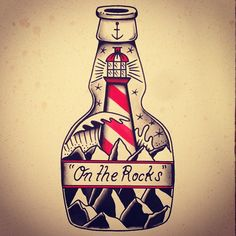 Ideas Tattoo Old School Ship Bottle For 2019 Tattoos 3d, Neue Tattoos, Sleeve Tattoos, Tattos, Tattoo Old School, Ink Studio, Hannya Tattoo, Rock Tattoo, Sailor Jerry Tattoos