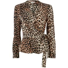 Ganni Fayette Animal  Wrap Top ($315) ❤ liked on Polyvore featuring tops, print, animal print top, mixed print top, wrap top, brown silk top and animal top