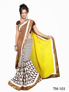 PartyWear Ethnic Indian Georgette Bollywood Designer Saree Pakistani Sari TM-103 #Saree