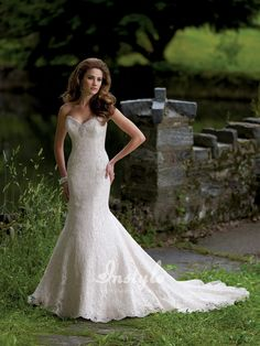 strapless deep sweetheart lace over satin mermaid wedding dress uk