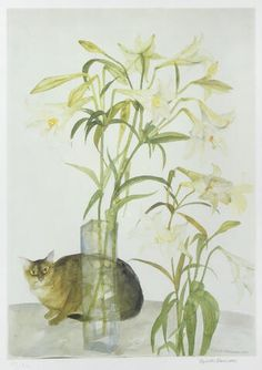 Dame Elizabeth Blackadder (British, b. 1931) - Abyssinian Cat and Lilies, 1981 - Offset lithograph printed in colours