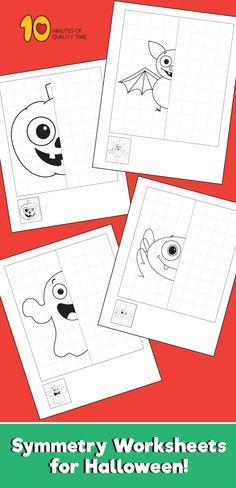 Symmetry Worksheets for Halloween Theme Halloween, Halloween Math, Fairy Halloween Costumes, Halloween Crafts For Kids, Halloween Activities, Holidays Halloween, Visual Motor Activities, Kids Learning Activities, Preschool Activities