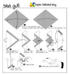 Sea Gull Origami Folding Diagram