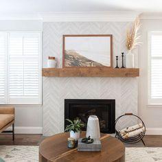 Herringbone Fireplace, Wood Mantle Fireplace, Fireplace Tile Surround, Rustic Mantel, Wood Mantels, Rustic Fireplaces, Farmhouse Fireplace, Living Room With Fireplace, Fireplace Surrounds