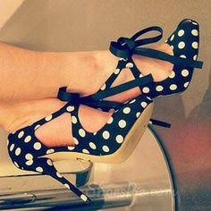 Adorable polka dot high heel shoes