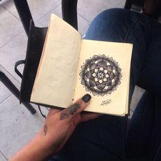 Mandala on black diary by Mar Tattoo Cursed Child Book, Mandala, Tattoos, Black, Tatuajes, Black People, Tattoo, Tattoo Illustration, Mandalas