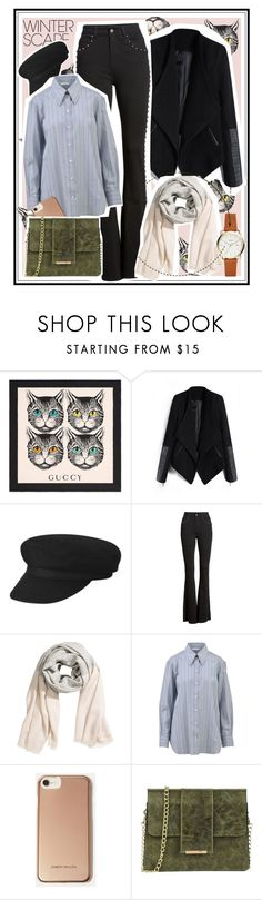 """""""Sem título #549"""" by hortencia-s ❤ liked on Polyvore featuring Gucci, CÉLINE, Karen Millen, Tuscany Leather, NYC and winterscarf"""