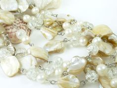 """Freshwater Pearl White Beige Mother of Pearl 58"""" Necklace 