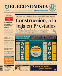 """""""Construcción, a la baja en 19 estados"""". En la portada de nuestra edición impresa. Lunes 21 de octubre de 2013."""