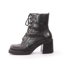 574912244e5e Vintage Black Leather Lace Up Platform Boots Chunky Heel 90s Goth Grunge  Women's Size US 8.5 / UK 6.5 / EUR 39