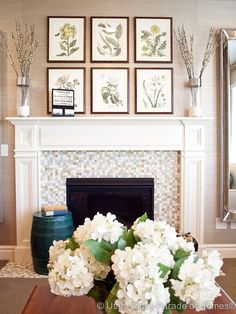 Not these pictures... but I like the idea of a wall photo grouping over the mantle