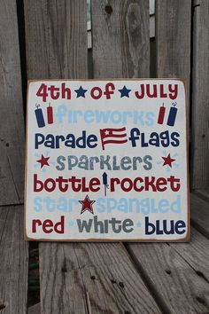 4th of July Summer Wood Sign summer Independence by jodyaleavitt, $21.95