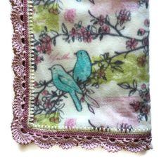"Cherry Blossoms & Bluebirds Fleece Blanket,""Rose""Fantail Crochet Edge,Large Elegant Throw,Decor,Housewarming,Wedding Gift, Gift for Her by AllSylviasCreations on Etsy"