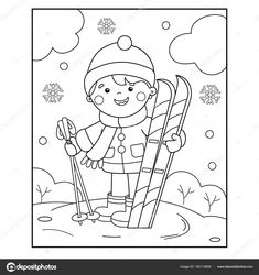 Coloring page outline of cartoon girl with skis. coloring book for kids Super Healthy Recipes, Healthy Kids, Coloring Books, Coloring Pages, Creating Positive Energy, Sports Illustrated Models, Life Lyrics, Diabetes Treatment Guidelines, Diabetic Dog