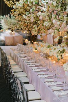 Cherry Blossom Trees and #blush coloured linens #tabledecor   Photography: Mango Studios   WedLuxe Magazine #luxurywedding