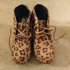 5b059064c1b2 Shoes - Animal Print Wedge Booties