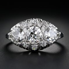 Edwardian Filigree Three Stone Diamond Ring - 10-1-4816 - Lang Antiques