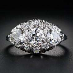 Edwardian Filigree Three Stone Diamond Ring - 10-1-4816 - Lang Antiques