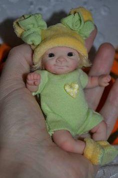 "Original Art OOAK Polymer Clay baby doll girl 4"" Sally by Yulia Shaver"