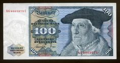 German money 100 Deutsche Mark banknote of 1977, Sebastien Munster.