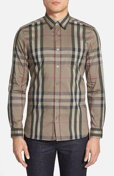 Men's Burberry Brit 'Nelson' Trim Fit Check Sport Shirt
