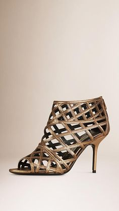 Burberry | Heritage gold Cut-out Leather Ankle Boots