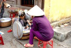 Traditional Vietnamese street food, Hoi An // Banh dap, Xoi dau den, Banh kyen to // Rice crackers, Sticky rice, ,