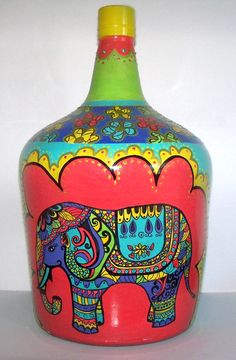 Empty Wine Bottles, Wine Bottle Art, Painted Wine Bottles, Painted Vases, Wine Bottle Crafts, Bottles And Jars, Hand Painted, Recycled Crafts, Diy And Crafts